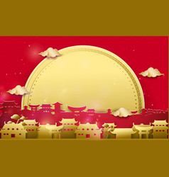 Chinese village with big moon background vector