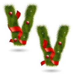 Christmas alphabet v vector