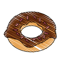 Color drawing pencil cartoon donut with colored vector