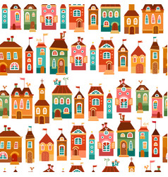 cute bright childish house pattern vector image