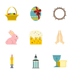 easter day icon set flat style vector image vector image