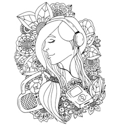 girl and headphones in the vector image