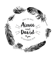Hand drawn feathers wreath with type design vector