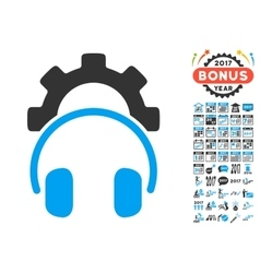Headphones configuration gear icon with 2017 year vector