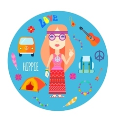 Hippie character accessories flat round vector
