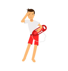 Lifeguard man character on duty standing with life vector
