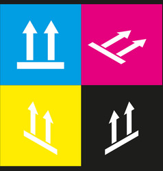 Logistic sign of arrows white icon with vector