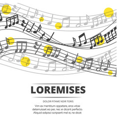 musical background with monochromic notes and vector image