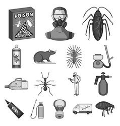 Pest poison personnel and equipment monochrome vector