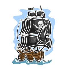pirate cartoon sailing ship vector image vector image