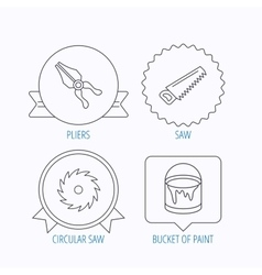 Pliers circular saw and bucket of paint icons vector image vector image