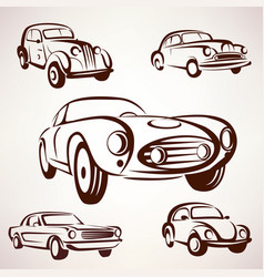 retro cars collection deign elements fro labels vector image