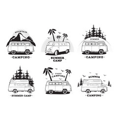 Set with camping trailer logo cars on a landscape vector