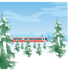 snowy landscape with train winter forest and sky vector image