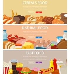 Three design banners set with cereals food vector image