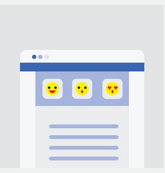 Website user interface main page with emoji icons vector
