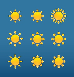 Yellow sun icons isolated on blue background vector image vector image