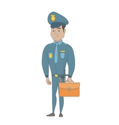 Young hispanic policeman holding a briefcase vector