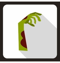 Zombie green hand icon flat style vector