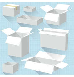 White cardboard boxes vector