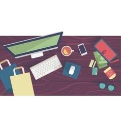 Online shopping concept desktop with computer vector