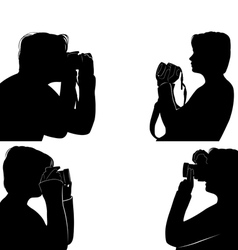 Set of people silhouettes taking pictures vector image