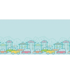 Town street horizontal seamless pattern background vector