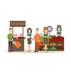 people buying groceries in vector image