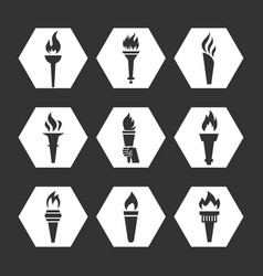 Grey flat torch with flame icons set vector