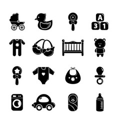 Baby born icons set simple style vector