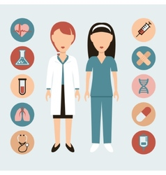 Doctor and nurse flat icons vector