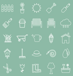 Gardening line icons on green background vector