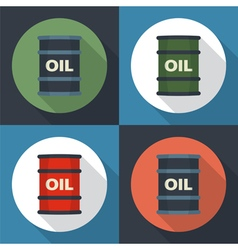 Barrel oil set icon vector