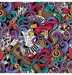 Cartoon hand-drawn doodles music seamless pattern vector