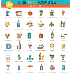 Drinks flat line icon set coffee alcogol vector