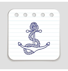 Doodle anchor icon vector