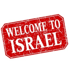 Welcome to israel red square grunge stamp vector