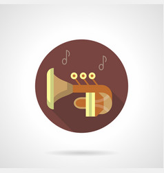 Brass wind tuba music flat round icon vector