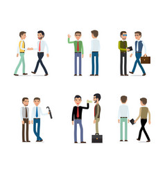 Businessmen working concept collection on white vector