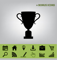 Champions cup sign black icon at gray vector