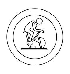 contour circular border with silhouette man in vector image