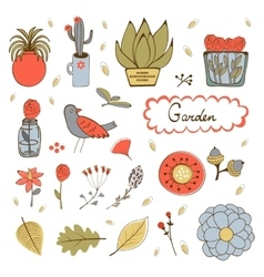 Cute hand drawn collection of house plants vector
