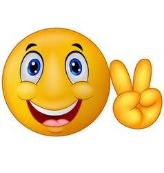 Emoticon with v sign vector image vector image