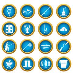 Fishing tools icons blue circle set vector