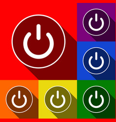 On off switch sign set of icons with flat vector