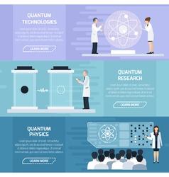 Quantum physics horizontal banners vector