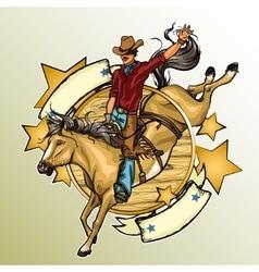 Rodeo cowboy riding a horse vector