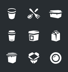 Set of disposable tableware icons vector