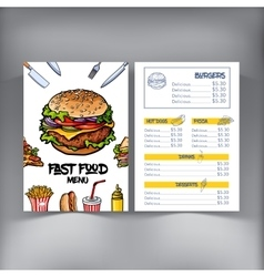Sketch style hand drawn fast food cafe restaurant vector image