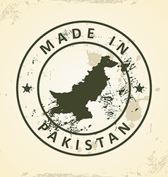 Stamp with map of pakistan vector